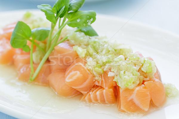 Stock fotó: Lazac · zöldhagyma · mártás · hal · narancs · kék