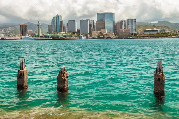 Belváros Honolulu kikötő égbolt víz felhők Stock fotó © LAMeeks