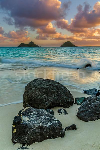 Nascer do sol água nuvens paisagem azul areia Foto stock © LAMeeks