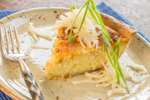 Sosis gıda mavi peynir plaka beyaz Stok fotoğraf © LAMeeks