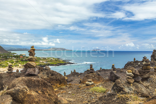 Jardim olhando água paisagem mar montanha Foto stock © LAMeeks