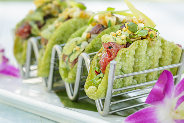 Mini Ahi Poke Tacos Stock photo © LAMeeks