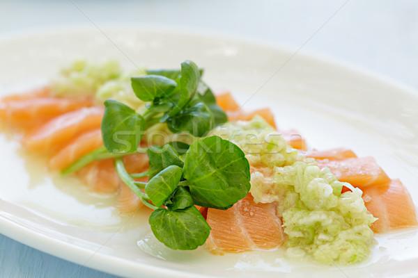 Somon sashimi yeşil soğan sos balık mavi Stok fotoğraf © LAMeeks