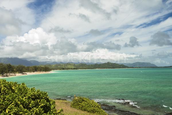 Praia belo ver montanha alcance céu Foto stock © LAMeeks