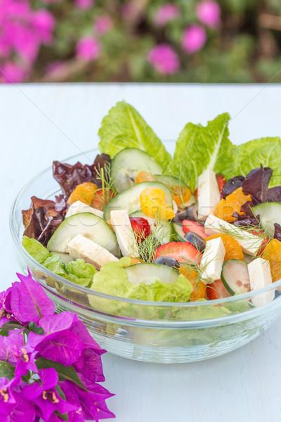 Stockfoto: Tropische · zomer · salade · vruchten · groenten · tofu