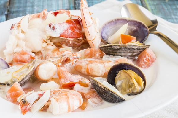 Polinezya deniz ürünleri güveç ıstakoz yengeç karides Stok fotoğraf © LAMeeks
