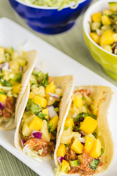 Stock photo: Hawaiian BBQ Chicken Tacos