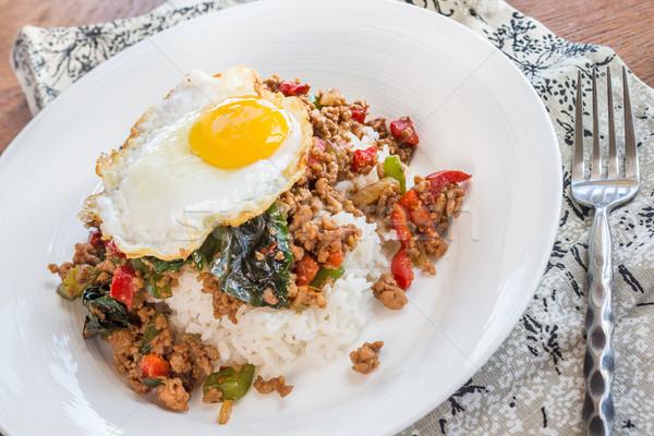 Taylandlı versiyon pirinç baharatlı et sebze Stok fotoğraf © LAMeeks