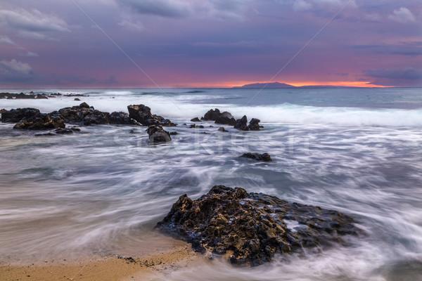 Zandstrand zonsopgang wal water wolken zon Stockfoto © LAMeeks