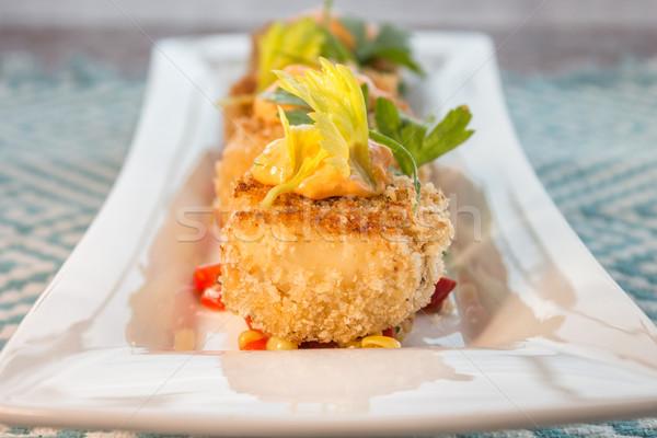 Stock photo: Crab cakes with corn relish