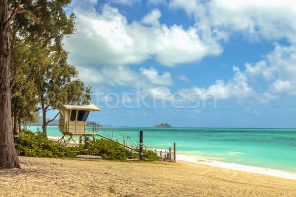 Sauveteur stand plage eau nuages arbres Photo stock © LAMeeks