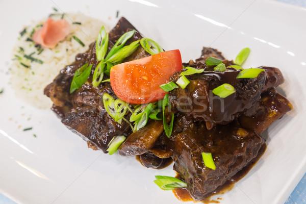 Carne costelas sal vermelho prato Foto stock © LAMeeks