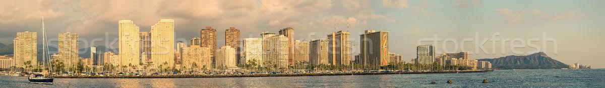Waikiki panorama ver diamante cabeça Havaí Foto stock © LAMeeks