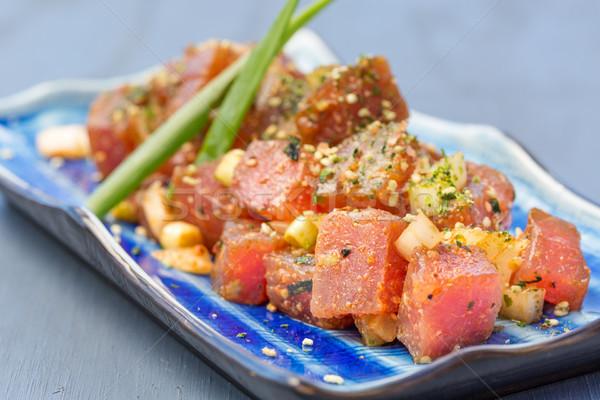 Estilo fresco atum cebolas comida peixe Foto stock © LAMeeks
