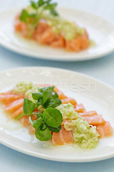 鮭 刺身 ソース 魚 オレンジ ストックフォト © LAMeeks
