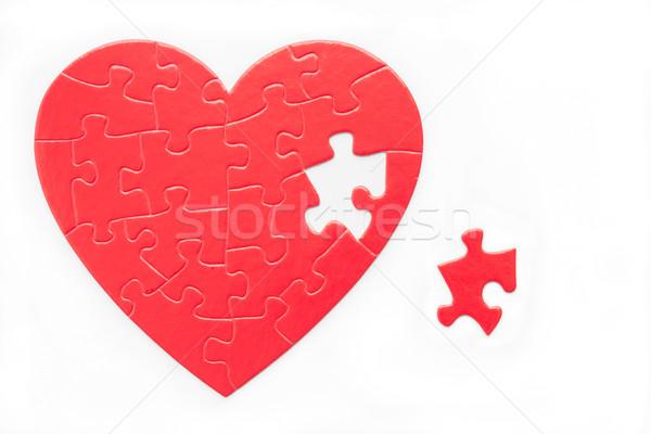 Me vermelho coração quebra-cabeça peça Foto stock © LAMeeks