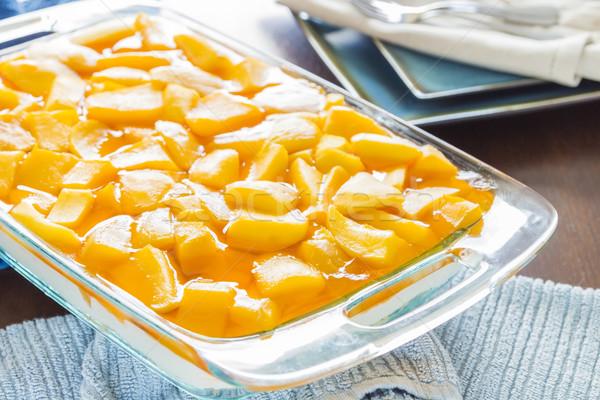 Mangue cheesecake fraîches orange écrou blanche Photo stock © LAMeeks