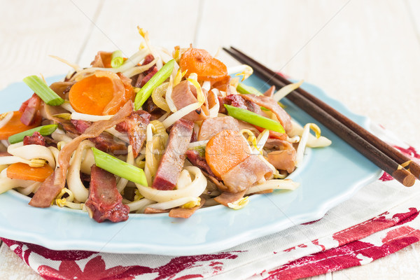 Presunto carne de porco legumes comida laranja Foto stock © LAMeeks