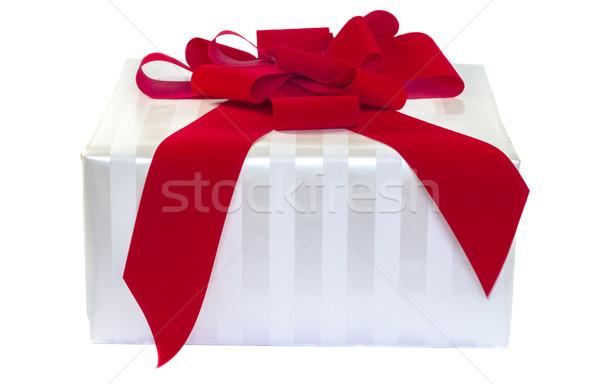 White Striped Gift With Red Bow Stock photo © LAMeeks