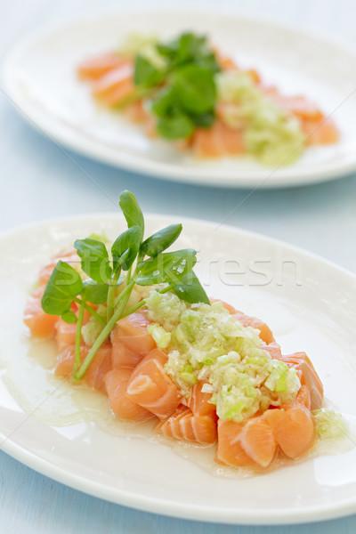 лосося зеленый лук соус рыбы синий пластина Сток-фото © LAMeeks