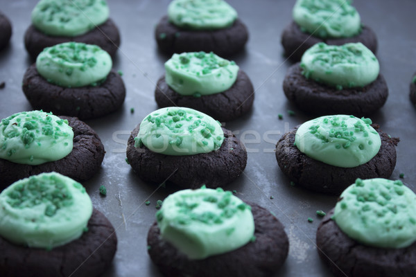 Mini Mint Frosted Chocolate Cookies Stock photo © LAMeeks