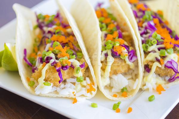 Ahi Katsu Sushi Tacos Stock photo © LAMeeks