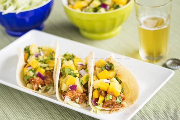 Hawaiian BBQ Chicken Tacos Stock photo © LAMeeks