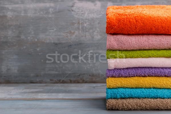 Foto stock: Colorido · banho · toalhas · azul · rústico