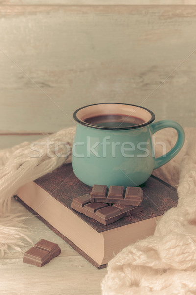 Кубок кофе книга Vintage цвета кухне Сток-фото © Lana_M
