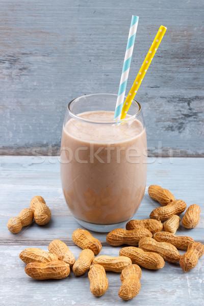 Mogyoróvaj smoothie banán zab kék fából készült Stock fotó © Lana_M