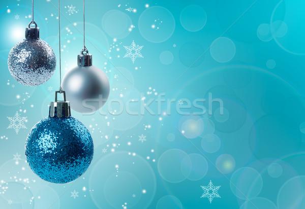 Christmas decoraties opknoping Blauw zilver Stockfoto © Lana_M