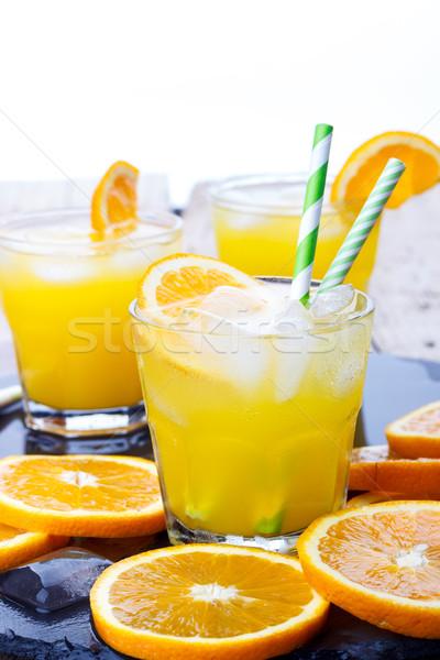 коктейль оранжевый льда Ломтики продовольствие фон Сток-фото © Lana_M