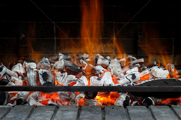 Empty Hot Charcoal with flame Stock photo © Lana_M