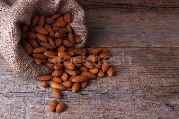 Amandelen zak oude voedsel dieet Stockfoto © Lana_M