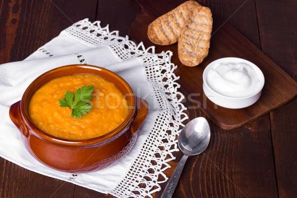 тыква суп деревянный стол служивший греческий пшеницы Сток-фото © Lana_M