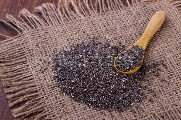 Chia seeds with wooden spoon Stock photo © Lana_M