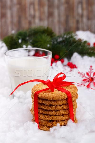 üveg tej sütik mikulás karácsony fa Stock fotó © Lana_M