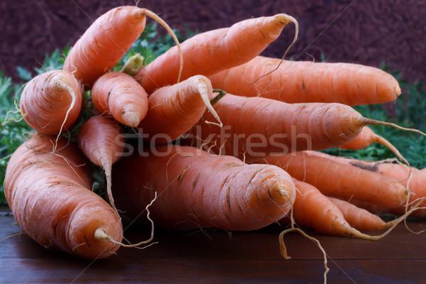 морковь свежие деревенский деревянный стол продовольствие Сток-фото © Lana_M