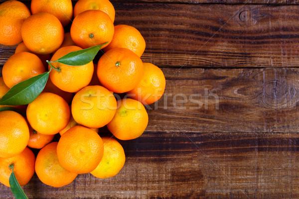 Közelkép öreg fából készült étel gyümölcs desszert Stock fotó © Lana_M