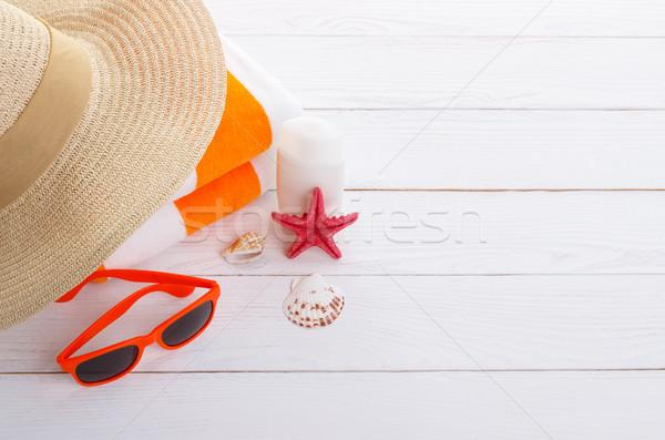 Praia férias de verão óculos de sol toalha de praia Foto stock © Lana_M