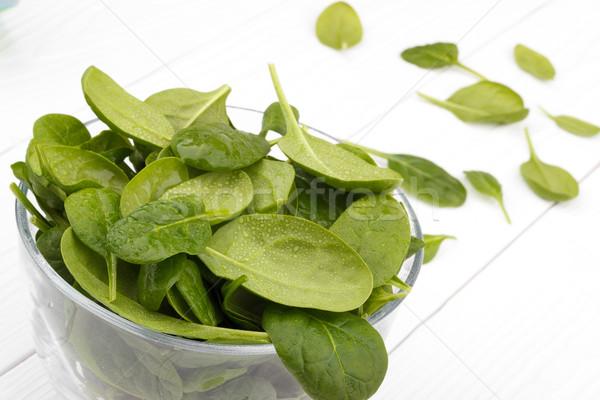 Spinazie achtergrond groene salade plant plantaardige Stockfoto © Lana_M