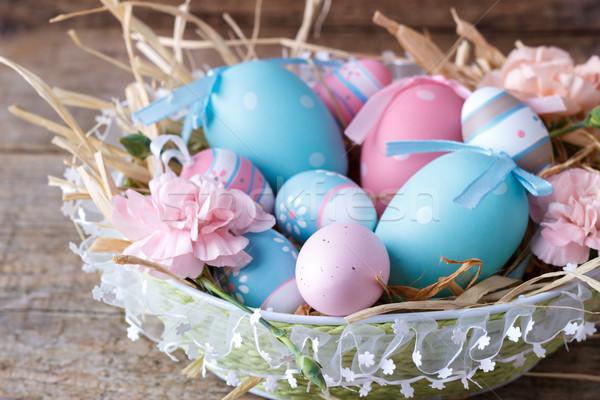 корзины красочный пасхальных яиц старые весны Сток-фото © Lana_M