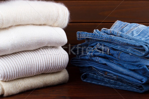 Stack of knitted sweaters Stock photo © Lana_M