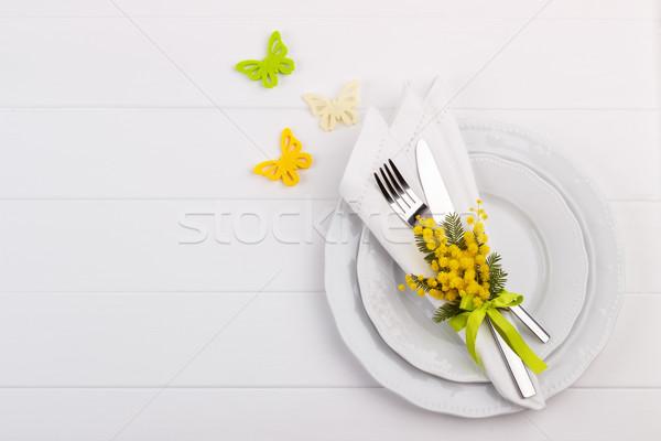 Voorjaar tabel bloemen vlinders vakantie exemplaar ruimte Stockfoto © Lana_M