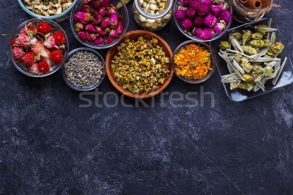 Assortiment sécher fleur thé noir pierre Photo stock © Lana_M