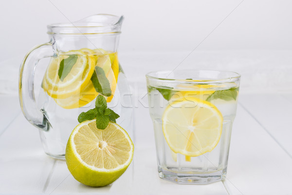 Gezonde limonade citroen kalk mint witte Stockfoto © Lana_M