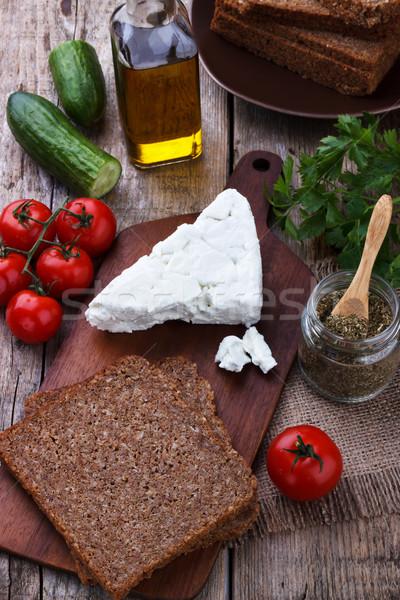 Egészséges reggeli fekete kenyér fetasajt háttér Stock fotó © Lana_M