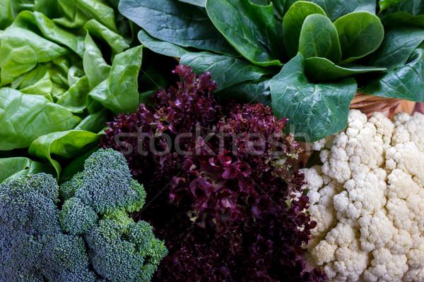 здорового овощей цветная капуста салата шпинат Сток-фото © Lana_M