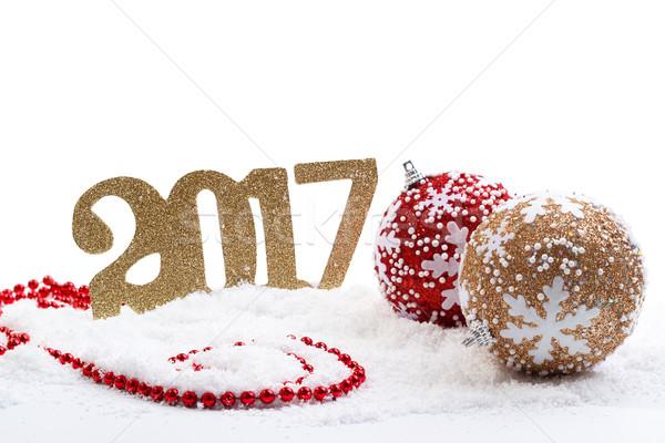 с Новым годом красный золото украшения снега фон Сток-фото © Lana_M