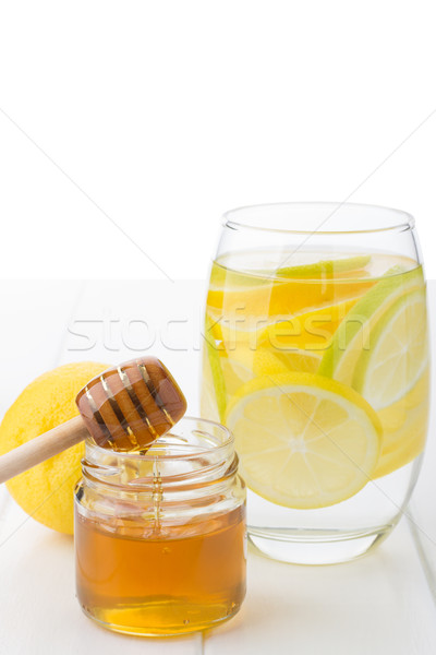 Gezonde drinken honing citroen kalk ochtend Stockfoto © Lana_M